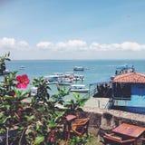 Barca e fiori fotografie stock libere da diritti