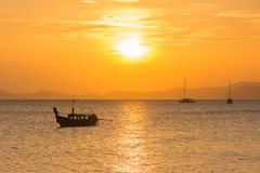 Barca e luce solare Fotografia Stock