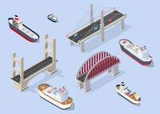 Barca e navi di crociera illustrazione vettoriale