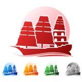 Barca en logotipo colorido libre illustration