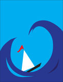 Barca fra le onde Immagine Stock Libera da Diritti