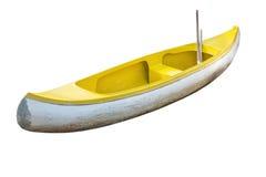 Barca gialla, fondo bianco isolato Immagini Stock Libere da Diritti