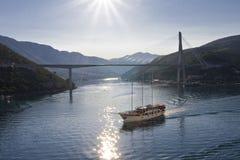 Barca illuminata Fotografia Stock