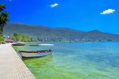 Barca in lago Ocrida, Macedonia Fotografia Stock Libera da Diritti