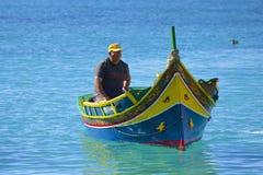 Barca maltese nel villaggio di Popeye, Malta Fotografie Stock Libere da Diritti