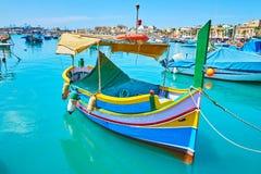 Barca maltese tradizionale, Marsaxlokk fotografia stock