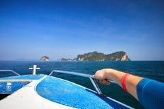 Barca in mare delle Andamane Fotografia Stock