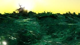 Barca in mari agitati Fotografia Stock Libera da Diritti