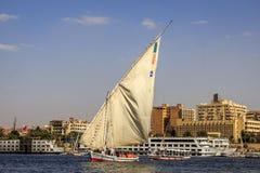 Barca nel egyption Nilo Immagini Stock