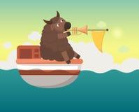 Barca nel mare con i yak Immagine Stock