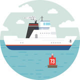 Barca piana del trasporto marittimo e dell'oceano Fotografia Stock