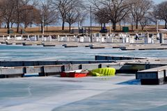 Barca a remi congelata Immagine Stock Libera da Diritti
