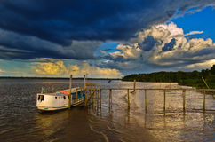 Barca in Rio delle Amazzoni Immagine Stock Libera da Diritti