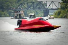 Barca rossa della corsa Fotografia Stock