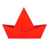 Barca rossa di carta. Fotografie Stock