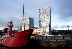 Barca rossa a Liverpool Fotografie Stock