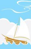 Barca semplice in mare illustrazione vettoriale