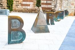 Barca Sign. A Barca Sign is seen right by the `La Sagrada Familia` Catholic Church in Barcelona Spain royalty free stock images