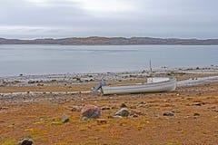 Barca sola a bassa marea Immagine Stock
