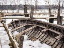 Barca sotto neve Fotografia Stock Libera da Diritti