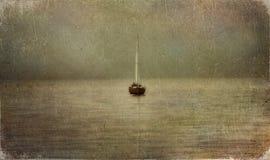 Barca sul fiume illustrazione vettoriale