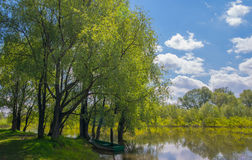 Barca sul fiume Immagine Stock
