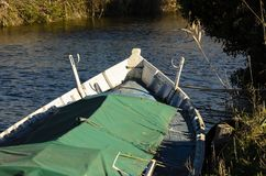 Barca sul fiume Fotografia Stock