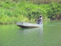 Barca sul fiume di Chavon fotografia stock