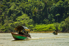 Barca sul fiume di Usumacinta Immagine Stock Libera da Diritti
