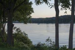 Barca sul fiume Ohio fotografie stock