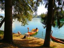 Barca sul lago Fotografie Stock