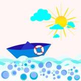 Barca sul mare Royalty Illustrazione gratis