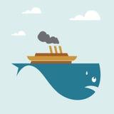 Barca sulla balena Fotografia Stock Libera da Diritti