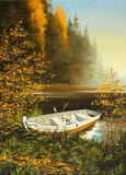 Barca sulla banca del lago illustrazione di stock