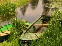 Barca sulla palude Fotografie Stock