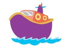 Barca sveglia per l'illustrazione dei bambini Immagine Stock Libera da Diritti