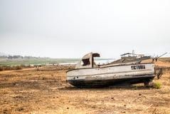 Barca in Toko vicino al lago Volta nella regione del Volta nel Ghana Fotografia Stock Libera da Diritti