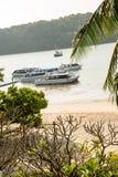 Barca tradizionale del longtail in baia su Phi Phi Island, Krabi, spiaggia della Tailandia Fotografia Stock