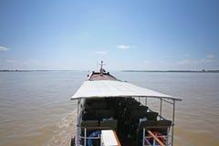 Barca turistica del fiume di Irrawaddy fotografia stock