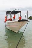 Barca turistica vicino al puntello Immagini Stock