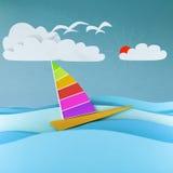 Barca variopinta nel mare Fotografia Stock