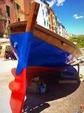 Barca variopinta in Portovenere Fotografia Stock