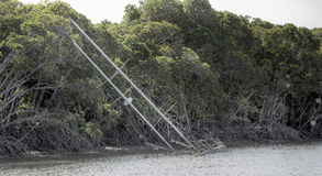 Barca a vela abbandonata Fotografia Stock