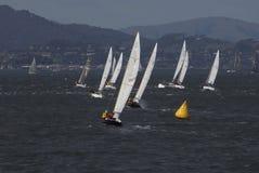 Barca a vela che corre su San Francisco Bay Immagine Stock