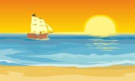 Barca a vela che galleggia sul mare Illustrazione piana di vettore Tramonto Immagini Stock