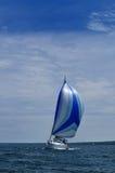 Barca a vela con la vela blu dello Spinnaker Fotografia Stock