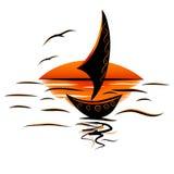 Barca a vela dei gabbiani del mare Immagine Stock Libera da Diritti