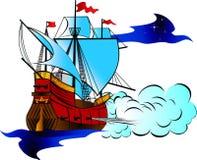 Barca a vela dei militari dell'annata illustrazione vettoriale
