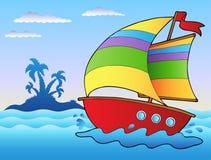 Barca a vela del fumetto vicino alla piccola isola illustrazione di stock