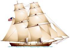 Barca a vela della bandiera americana del tagliatore di Baltimora illustrazione di stock